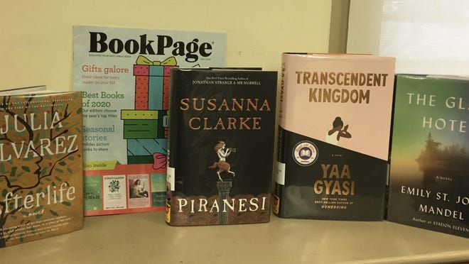 """A few of BookPage's Best Fiction of 2020: """"Afterlife"""" by Julia Alvarez, """"Piranesi"""" by Susanna Clarke, """"Transcendent Kingdom"""" by Yaa Gyasi and """"The Glass Hotel"""" by Emily St. John Mandel."""