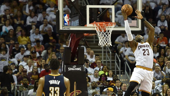 Cleveland Cavaliers forward LeBron James (23) dunks in the second quarter against the Indiana Pacers in Game 1 of the first round of the 2017 NBA Playoffs.