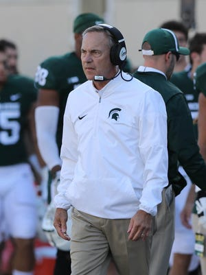 Michigan State coach Mark Dantonio on the sidelines during the 17-10 win over Iowa on Saturday, Sept. 30, 2017, in East Lansing.