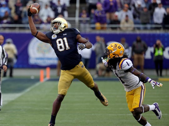 Notre Dame wide receiver Miles Boykin (81) makes a one handed catch in the Irish's Citrus Bowl win.