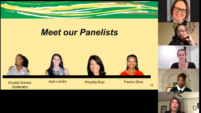 "A panel featuring Krystal Grimes, Ayla Landry, Priscilla Ruiz and Tresha Silva discusses the impact of network weaving in Bastrop County during the ""Power of Network Weaving: Catalyzing Community Transformation"" virtual event Nov. 12."