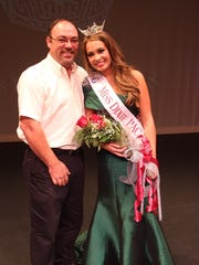 Miss Dixie PAC Lauren Dickson and her father, Mark, just after Lauren won the crown in Huntingdon last fall.