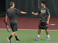 James Buchanan's Micah Wise, left,  and Josh Summers both picked up straight set victories on Monday in a 5-0 win over Tussey Mountain.