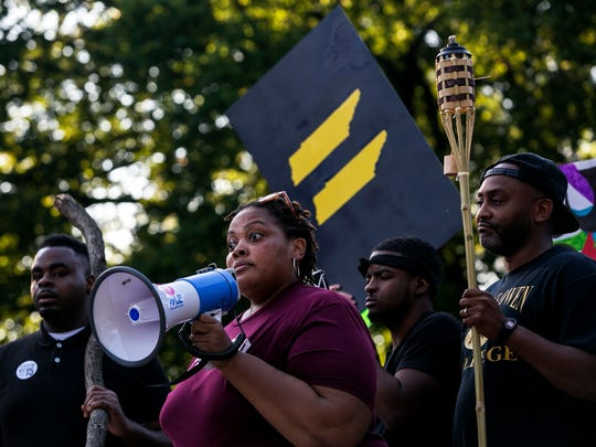 Activist-turned-county-commissioner Tami Sawyer addresses a crowd in Memphis during a protest on Aug. 12, 2017, showing support for those who were injured or lost their lives in Charlottesville, Va.