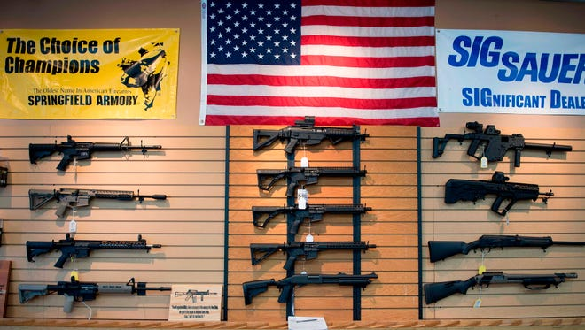Assault rifles for sale at Blue Ridge Arsenal in Chantilly, Va.