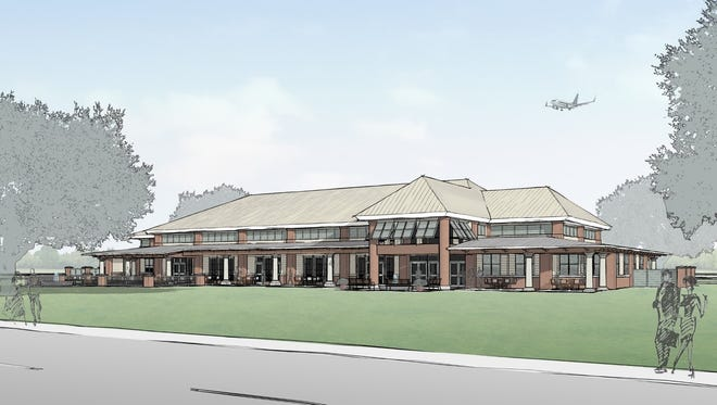 An architectural rendering of the proposed new community center at England Airpark by the firm of Barron, Heinberg and Brocato.
