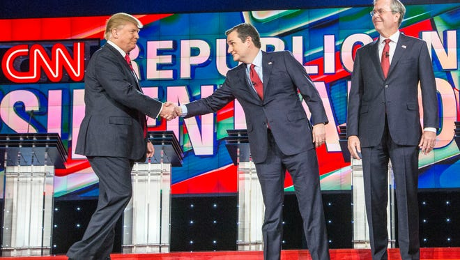 Candidate from L to R.  Donald Trump, Ted Cruz and Jeb Bush were introduced during the GOP Presidential Debate for 2015 held at The Venetian in Las Vegas, NV., on Dec.12, 2015.