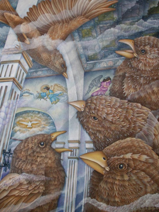 """""""Sparrows of San Elizario"""" by Jeniffer Stapher-Thomas, part of the """"Prime Inspiration"""" exhibition."""