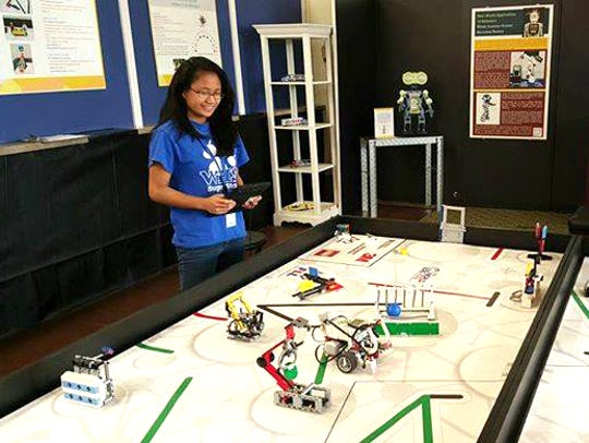 The Lego robotics display is a hand-on exhibit focused