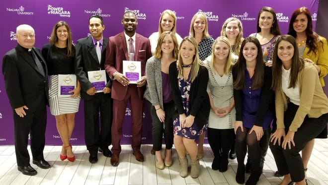 Inductees into the Niagara University Hall of Fame include, from left: Front, Sam Morgan, Michelle James, Hannah Hedrick, Lisa Bilich and Kathy (Bibler) Rougeux; back (players only), Amanda Wilken, Rebecca (Suchy) Jacobs, Shannon (Ryan) Cornell, Lauren (Costello) Jennings and Kari Honomichl.