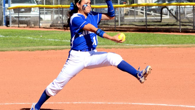 Carlsbad's Teddi Garcia throws a pitch in game one Friday against Hobbs.