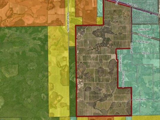 Map showing proposed rock mine in east  Lee County