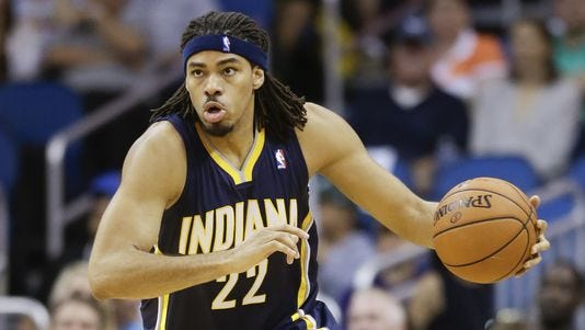 Indiana Pacers' Chris Copeland moves the ball against the Orlando Magic during the second half of an NBA basketball game in Orlando, Fla., Wednesday, April 16, 2014. Indiana won 101-86.