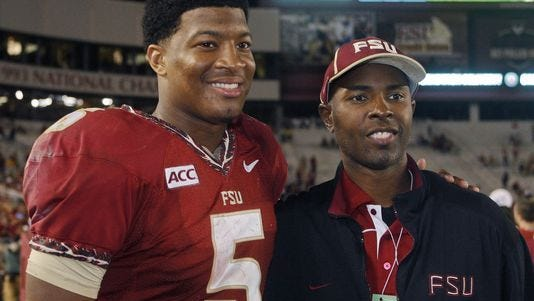 Jameis Winston (left) could join quarterbacks Charlie Ward (right) and Chris Weinke as Heisman Trophy winners from Florida State. AP Florida State quarterback Jameis Winston (5) poses with former Florida State quarterback and Heisman Trophy winner Charlie Ward after an NCAA college football game against Syracuse on Saturday, Nov. 16, 2013, in Tallahassee, Fla. Florida State best Syracuse 59-3.