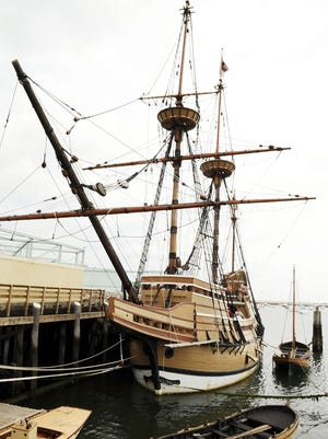 The original colonists who arrived via ship from Europe turned America into their own country. Pictured is a replica of the Mayflower.