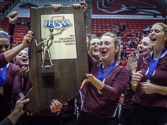 Wes-Del celebrates its state volleyball championship in November.