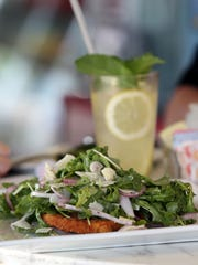 Fresh squeezed lemonade with mint and a chicken Milanese