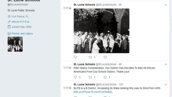 Tweets made from the St. Lucie County School District account June 30, 2017. (image of bodies blurred out)
