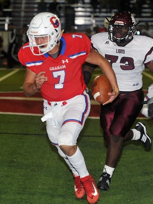 Graham quarterback Tucker Horn (7) runs the ball during second half action Friday night againnst Vernon.