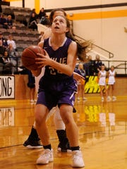 Wylie's Mary Lovelace (24) sets to take a shot during the Lady Bulldogs' 63-45 win against Stephenville in the Region I-4A quarterfinals in Cisco on Tuesday, Feb. 20, 2018.