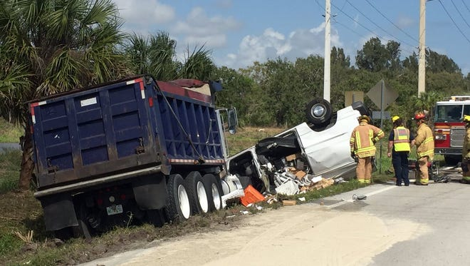 A van and a dump truck carrying sand were involved in a Monday morning crash on 66th Avenue at 77th Street in Indian River County.