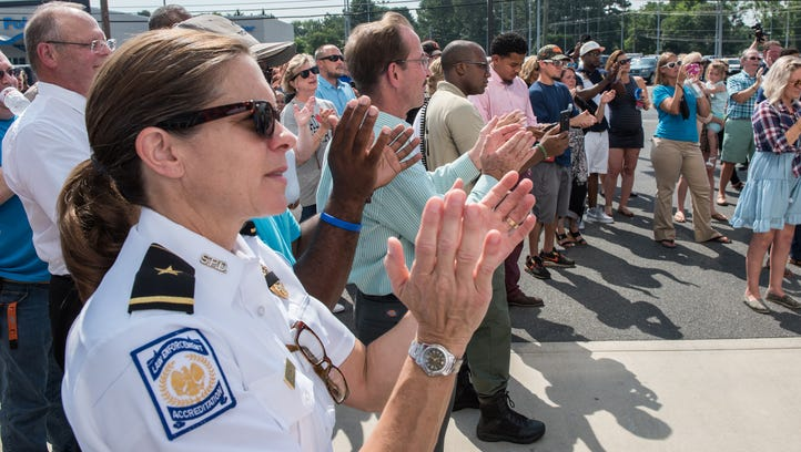 Salisbury Police Chief Barbara Duncan joins in applause during at a Unity Rally on Friday, July 22, 2016.