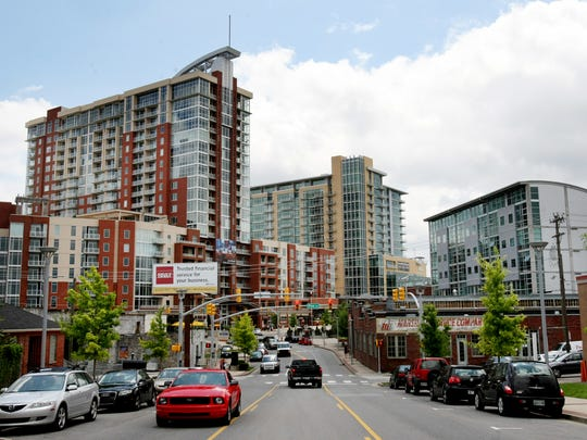 Gulch: Icon, left has 465 units and was built in 2008. Terrazzo, center, followed in 2009.