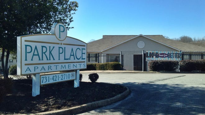 The entrance to Park Place Apartments on Boardwalk Cove, where Jackson police investigated a homicide on Saturday.