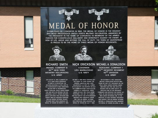 A Medal of Honor memorial recognizing 3 town residents
