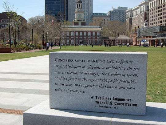 The first amendment on display in front of Independence