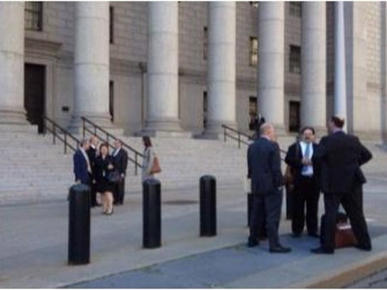 The front steps of U.S. District Court in Manhattan.