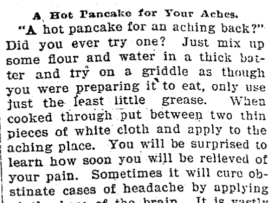 From the Archives: 'A Hot Pancake for Your Aches'