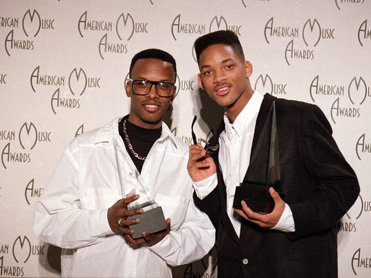 DJ Jazzy Jeff, left, and Will Smith backstage at the American Music Awards in 1989.