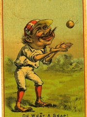 What appears to be a baseball trading card from 1876 has an ad for the Great American Tea Company on the back.