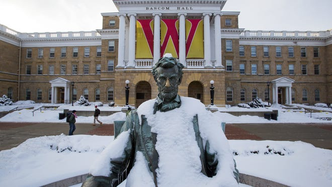 This Feb. 4, 2015, photo shows a Abraham Lincoln statue on Bascom Hill on the University of Wisconsin-Madison campus.