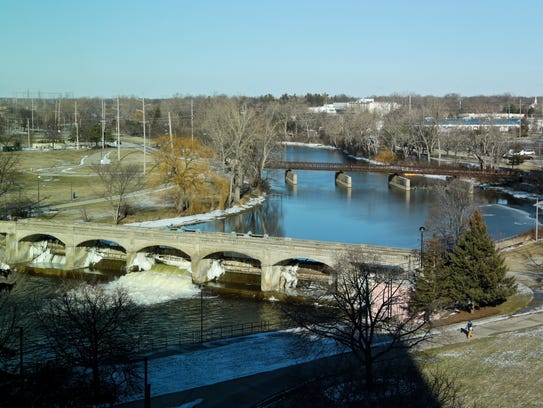 Flint River seen from Michigan State Office building