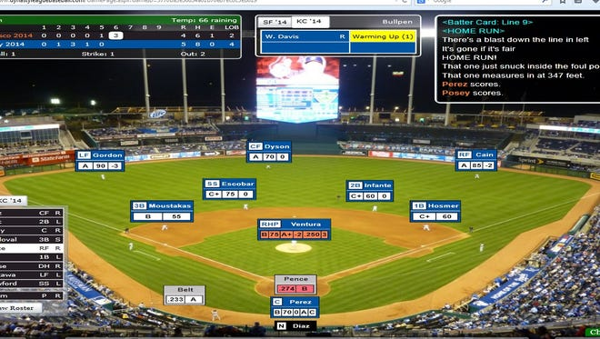 A screenshot of Hunter Pence's second home run of Game 6 in the 2014 Simulated World Series.