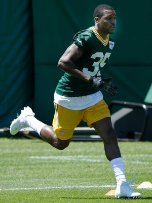 Green Bay Packers cornerback Demetri Goodson (39) works out during the team's organized team activities (OTA) Tuesday, June 6, 2017.