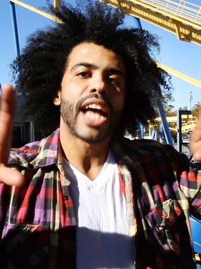 """2015: Daveed Diggs who played Thomas Jefferson in """"Hamilton"""", reacts after riding Nitro."""