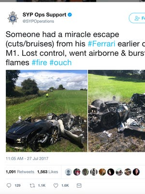 This screengrab of South Yorkshire Police's Twitter account shows a post about the Ferrari crash.
