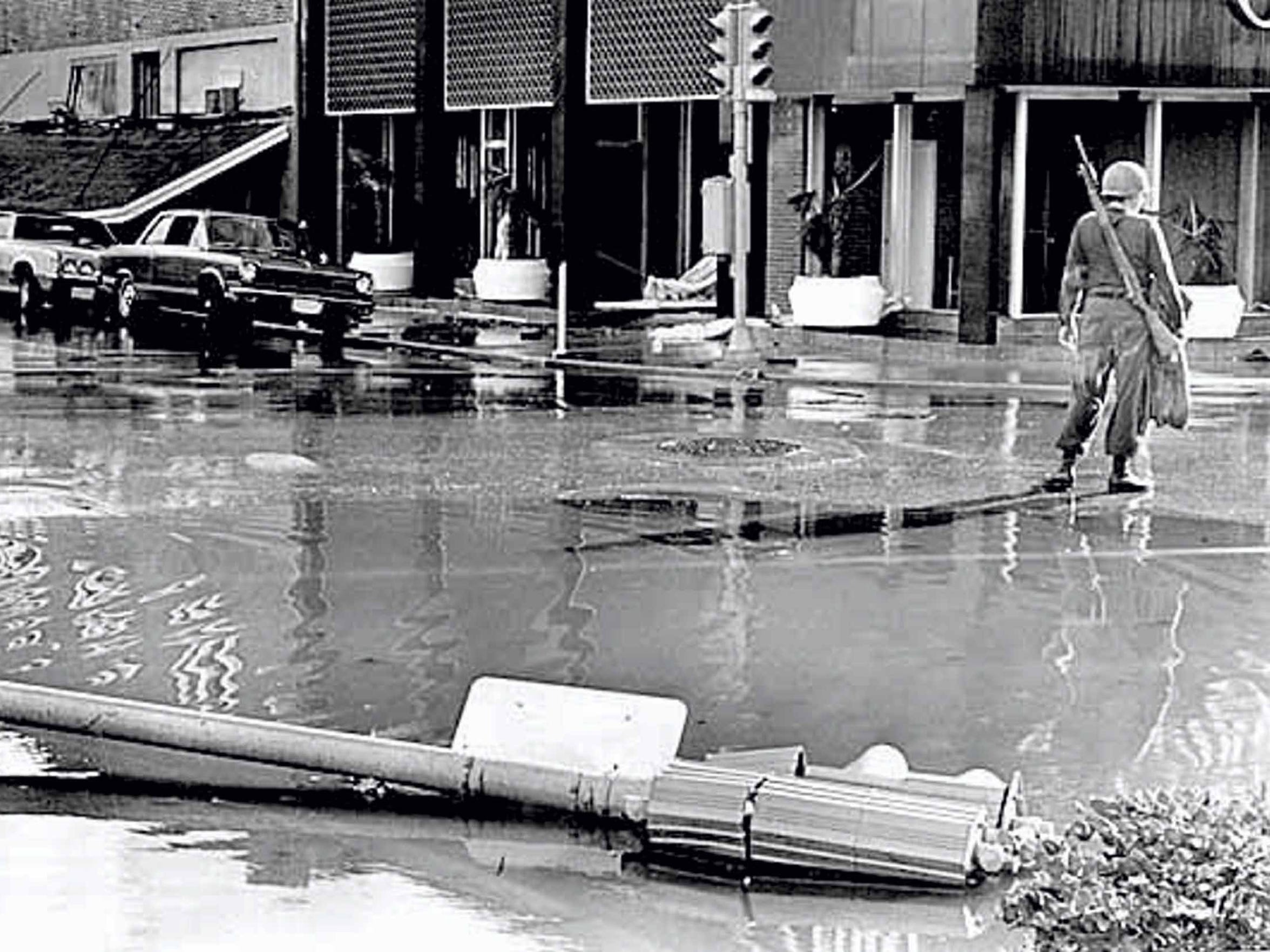 A National Guardsman on duty at Starr and Mesquite streets during the state of emergency in Corpus Christi following Hurricane Celia in 1970.