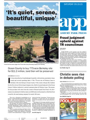 Asbury Park Press front page, Saturday, September 19, 2015