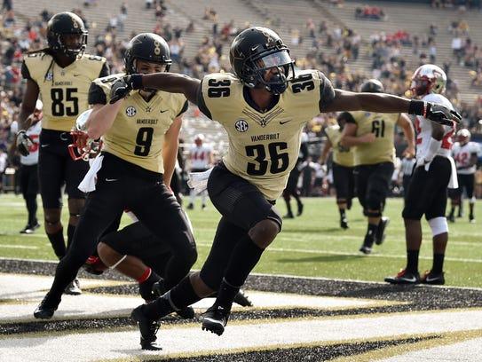 Vanderbilt wide receiver Trey Ellis (36) reacts to