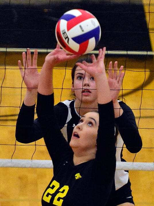 Central York's Emily Poole, seen here in action earlier this season, had 22 kills on Thursday vs. Cumberland Valley.