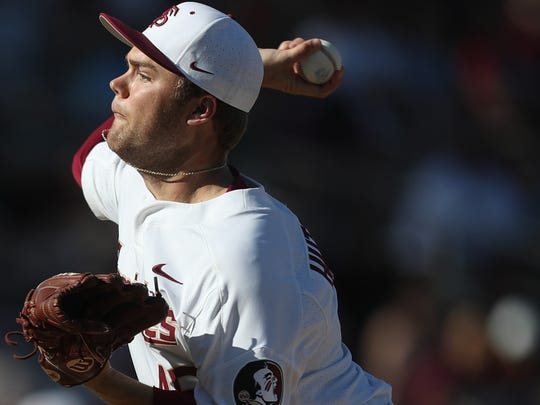 FSU's Gage Hutchinson pitches against Troy as the Seminoles