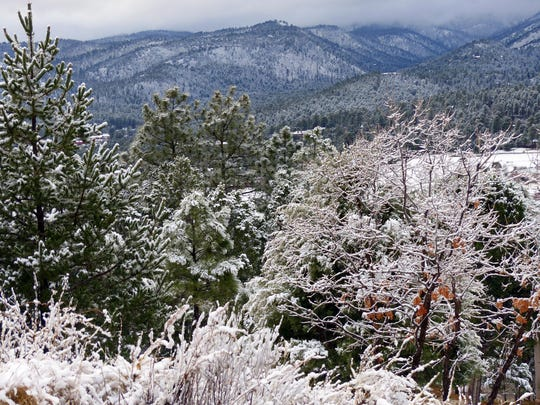 Sierra Blanca Peak was obscured by low storm clouds Saturday, but vegetation in the foothills were blanketed.