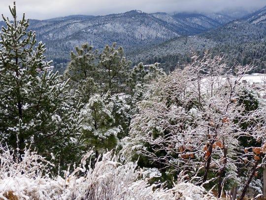 Sierra Blanca Peak was obscured by low storm clouds