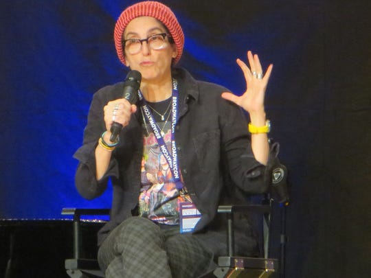"Tina Landau speaks during the ""SpongeBob SquarePants"" show spotlight at BroadwayCon 2018, held from Jan. 26 to 28, 2018, at the Javits Center in Manhattan."