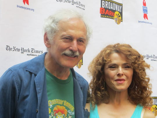 Victor Garber and Bernadette Peters at the 20th annual Broadway Barks, July 14, 2018, at Shubert Alley in Manhattan.