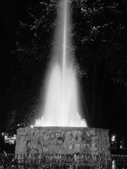 Reutter fountain in Reutter Park, July 1956.